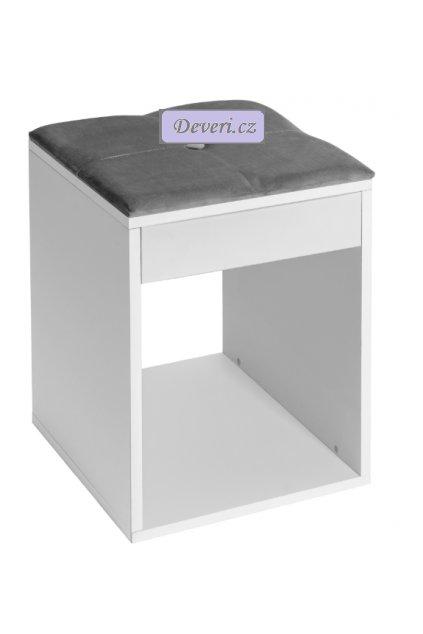 Stoleček 34x48x34cm bílo šedý (2)