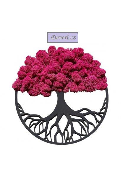Obraz strom s mechem fuchsiový 30cm různé barvy
