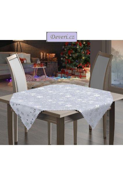 Vánoční ubrus stříbrné vločky 85x85cm bílý (1)