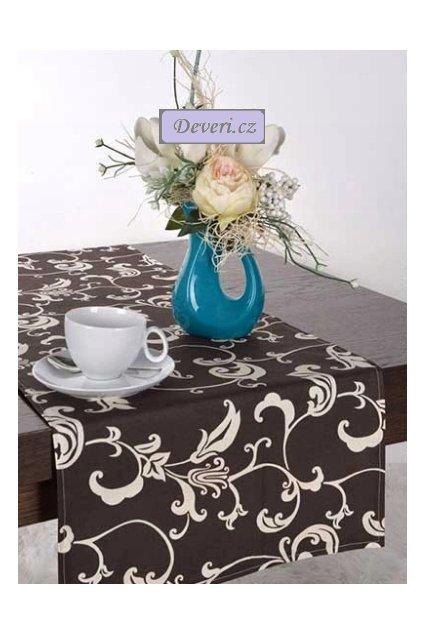 Bavlněný ubrus běhoun 100% květiny 40x100cm hnědý