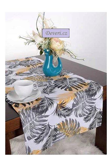 Bavlněný ubrus běhoun 100% listy 40x100cm bílý