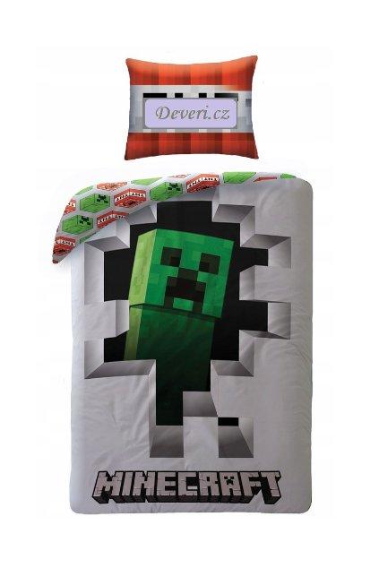 Dětské bavlněné licenční povlečení Minecraft Creeper 140x200cm bílé
