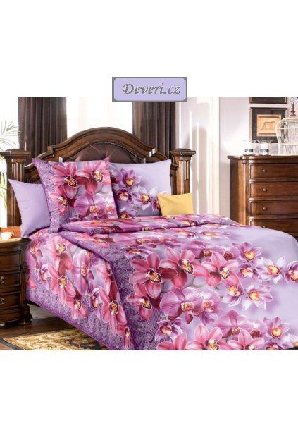 Bavlněné povlečení orchideje 140x200cm70x90cm fialové