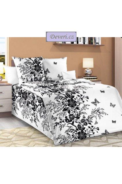 Bavlněné povlečení květiny a motýlci 140x200cm70x90cm bílé