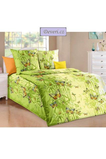Bavlněné povlečení motýli oranžoví 140x200cm70x90cm zelené