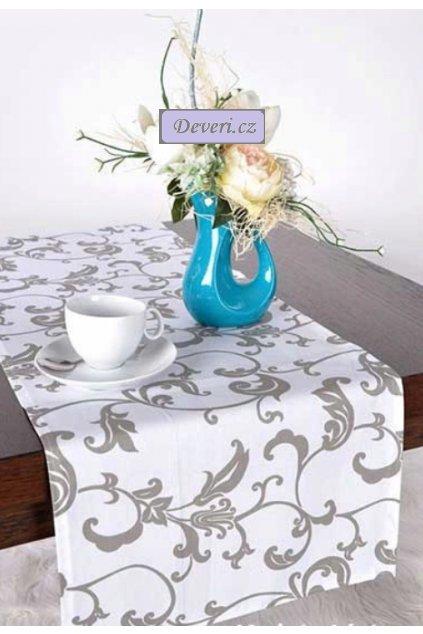 Bavlněný ubrus běhoun 100% šedé květiny 40x100cm bílý