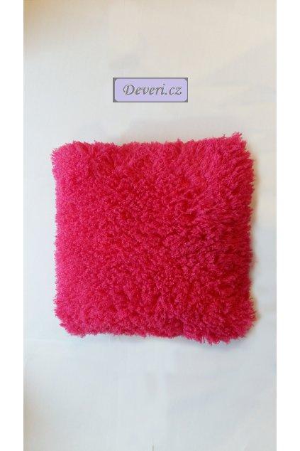 Plyšový povlak na polštář 40x40cm sytě růžový