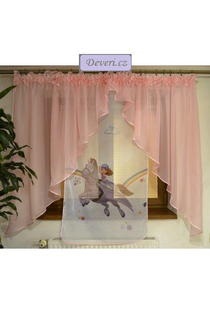 Voálová záclona Bela Sofie a Minimus světle růžová dva úkosy 400x145cm