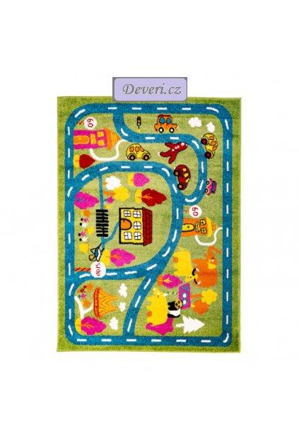Dětský koberec městečko zelený (1)