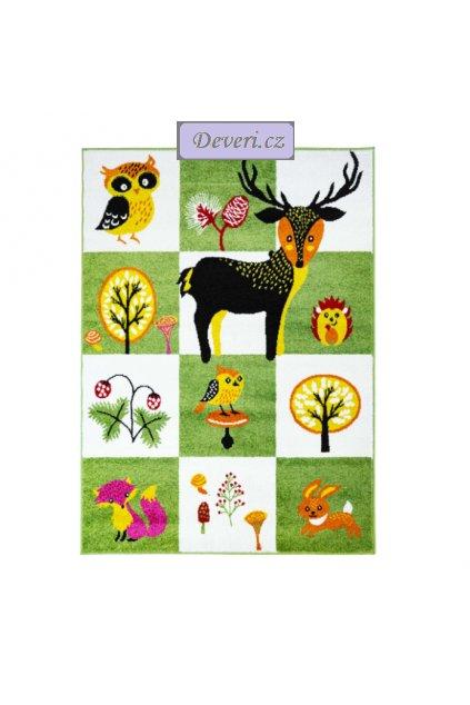 Dětský koberec zvířátka a příroda zeleno bílý různé rozměry (1)