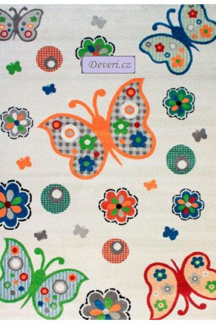 Dětský koberec motýli různé rozměry béžový (1)