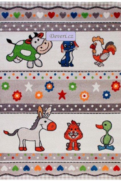 Dětský koberec zvířátka z farmy krémový různé rozměry (1)