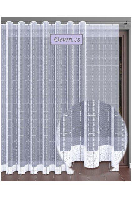 Kostičky žakárová záclona Liza metráž 250cm, bílá
