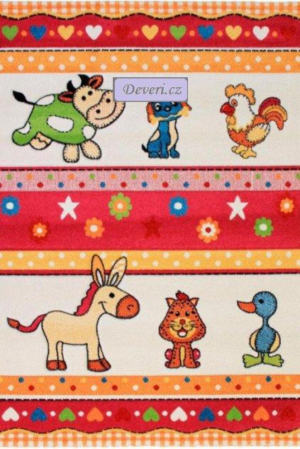 Dětský koberec zvířátka z farmy červeno bílý různé rozměry (1)