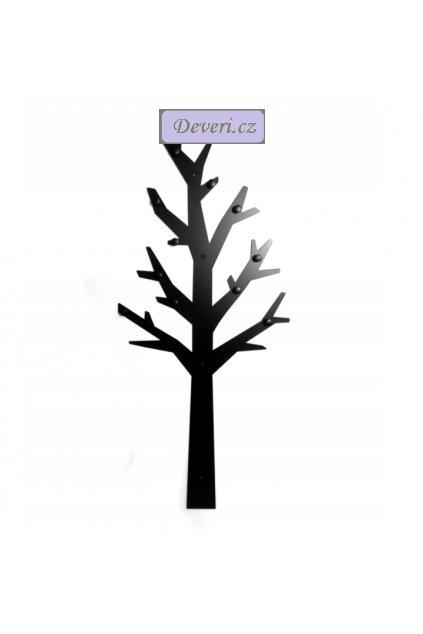 Nástěnný kovový věšák strom 130cm černý (1)