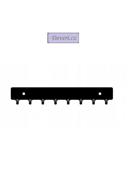 Nástěnný kovový věšák na klíče 20x4x2cm černý (1)