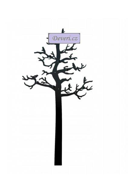 Nástěnný kovový věšák strom s ptáky 131x68x3cm černý (1)