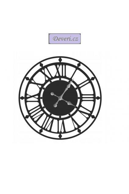Nástěnné kovové hodiny rozeta 70cm černé (1)