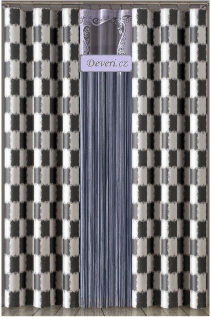 Metrážový závěs šachovnice šířka 185cm černo bílý