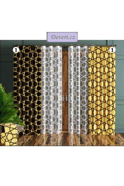 Metrážová záclona Vegas šířka 180cm hnědo žlutá