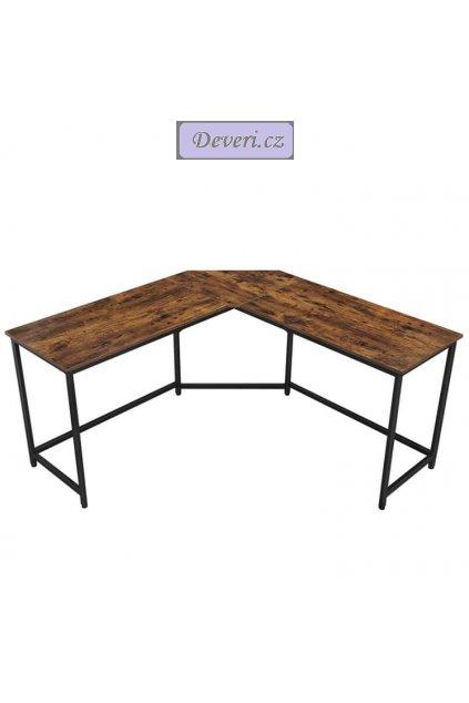 Rohový kancelářský stůl 149x149x75cm rustikální hnědá (1)