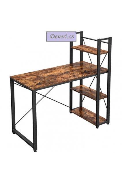 Počítačový stůl s úložným prostorem 120x60x120cm rustikální hnědá