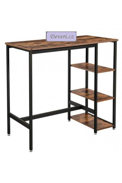 Barový stůl s policemi 109x60x100cm rustikální hnědý (1)
