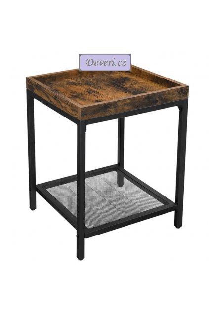 Odkládací stolek se zvýšeným okrajem 40x40x55cm rustikální hnědá (1)