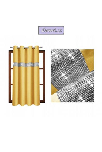 Krátký hotový závěs se zirkony 140x160cm různé barvy (1)