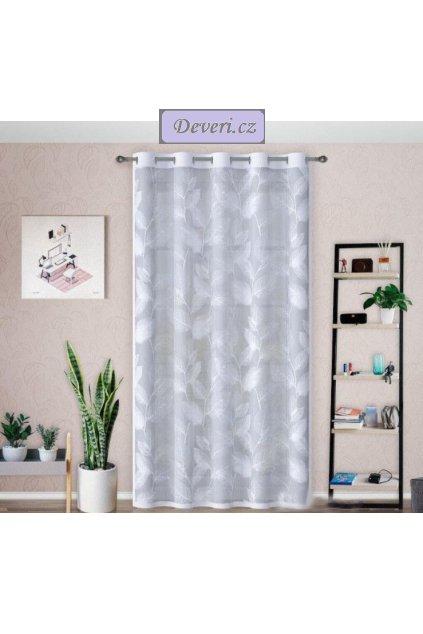 Hotová žakárová záclona lístky 140x250cm bílá