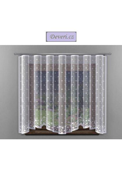 Hotová žakárová záclona zima 300x150cm bílá