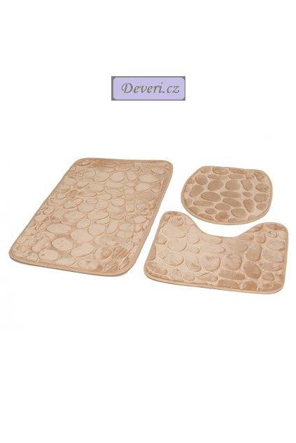 Koupelnové kusové koberečky / předložka do koupelny / WC předložka 3 kusy cappuccino 78x46cm / 42,5x39cm / 48x40,5cm