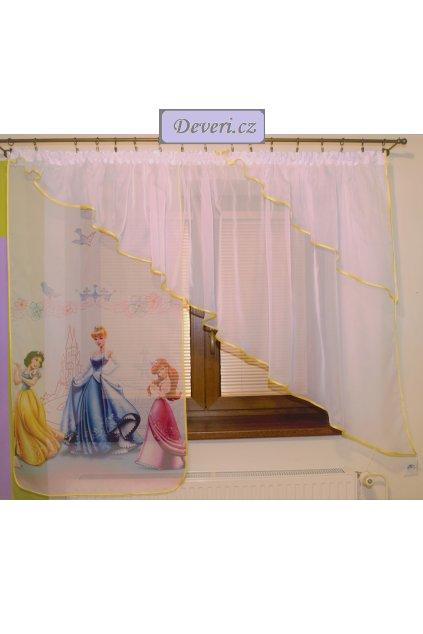 Voálová Záclona Lola princezny s úkosem citrónově žlutá 360x140cm