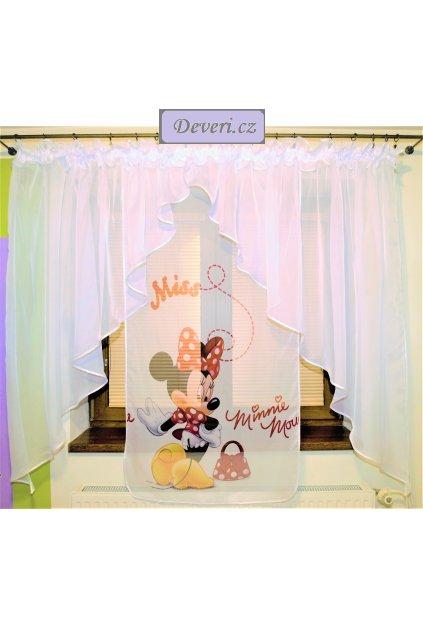 Voálová Záclona Bela Minnie Mouse Myška dva úkosy bílá 400x145cm