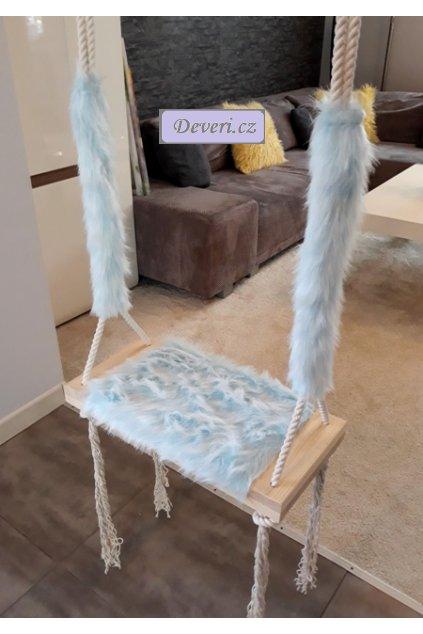 Dětská houpačka Lavička s chloupky modrá 50x25cm do 90kg