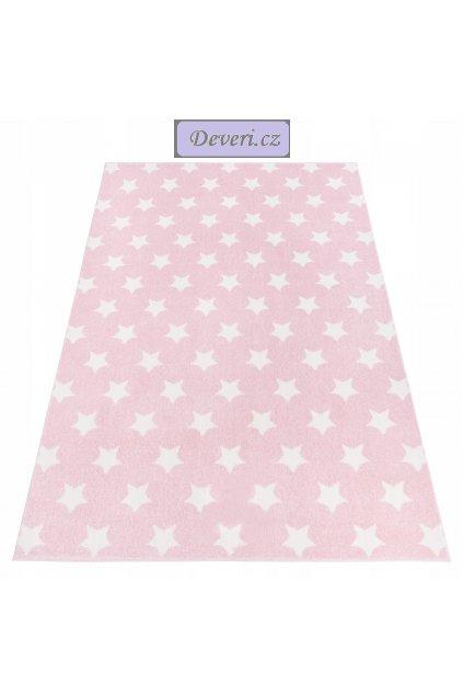 Koberec kusový hvězdičky / hvězdy / hvězda růžový 160x220cm