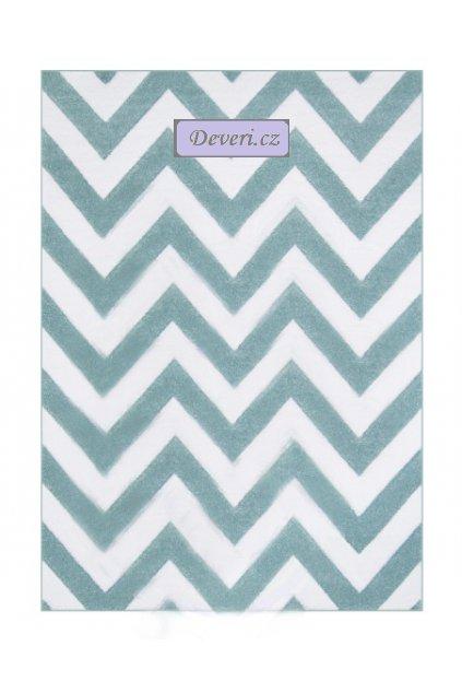 Kusový koberec blankytně modrý zig zag