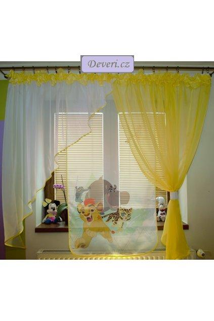 Voálová Záclona Tamara Lví král žlutá 400x145cm
