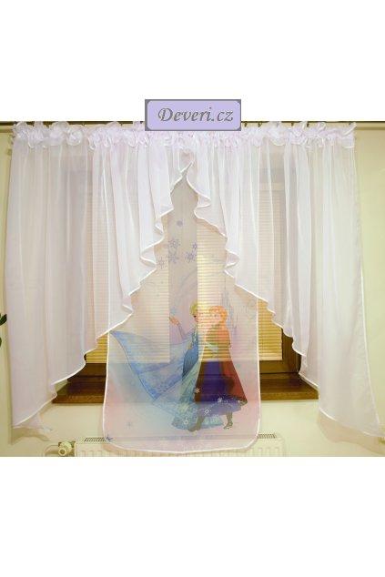 Voálová záclona Bela Anna a Elza dva úkosy 400x145cm bílá