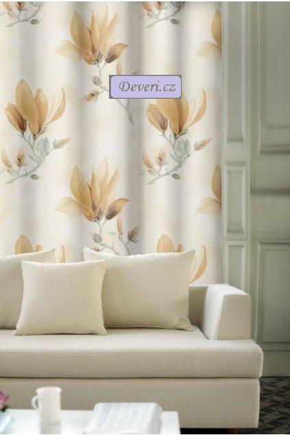 Hotový luxusní závěs magnólie na řasící pásce 140x250cm v různých barvách