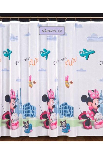 Dětský voál / záclona Disney Minnie Mouse myška na cestách  v.160cm