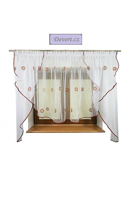 Hotová záclona Vanesa organzová s vyšívanými hnědými květy 360x150cm
