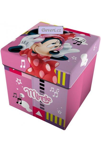 Dětský Sedací puf / box na hračky 2v1 Minnie Mouse Myška růžový 32x32x32cm