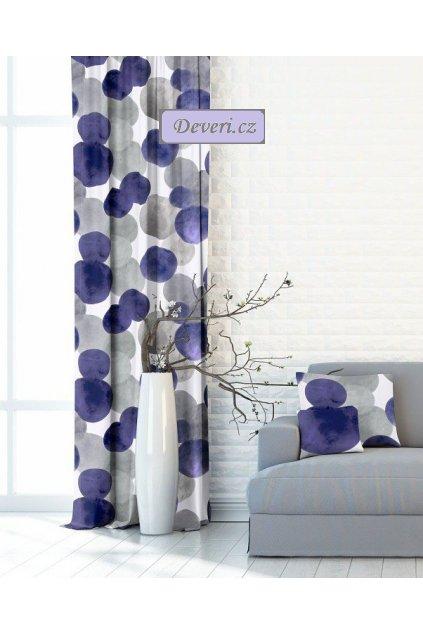 Metrážový závěs fialovo šedé bubliny šířka 150cm