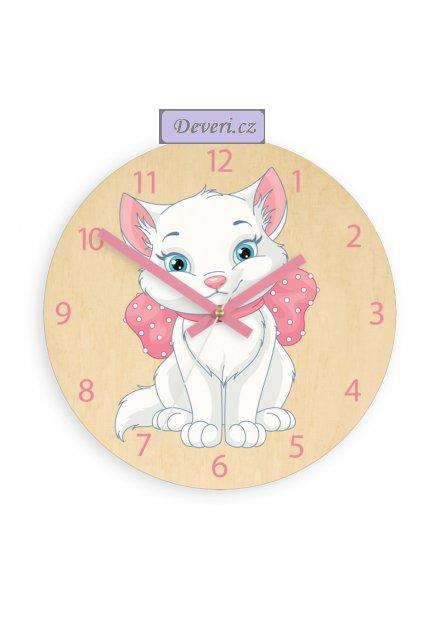 Nástěnné dětské dřevěné hodiny kočička tiché 30cm bříza