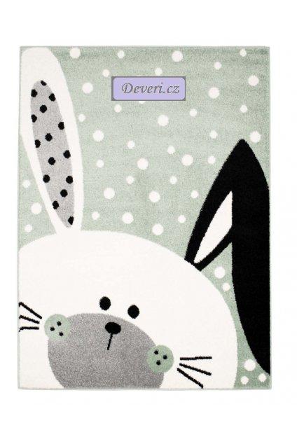 Dětský kusový koberec pastel králíček Ouško bílý v zelené
