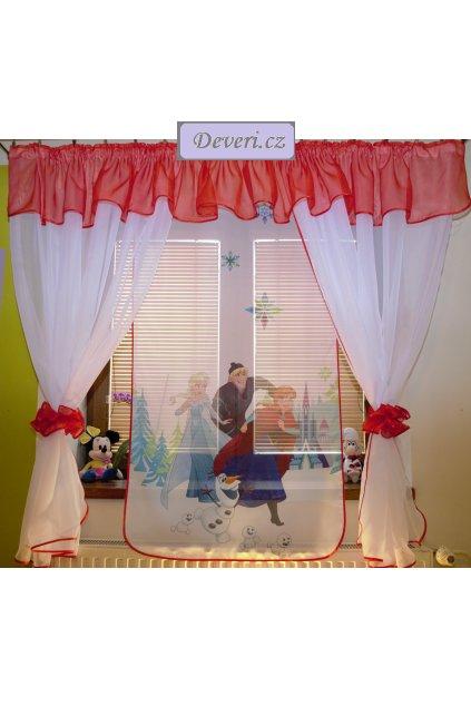 Voálová Záclona Denisa Frozen 4 červená 400x150cm