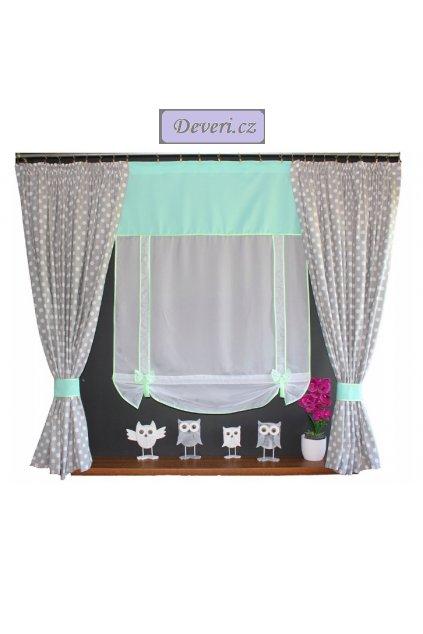 Dětská hotová záclona Sovička 150x100x150cm různé barvy