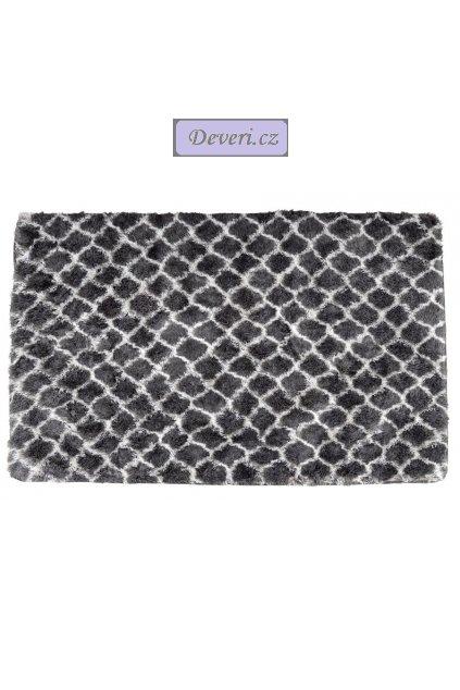 Plyšový kusový koberec 3D Clover šedý