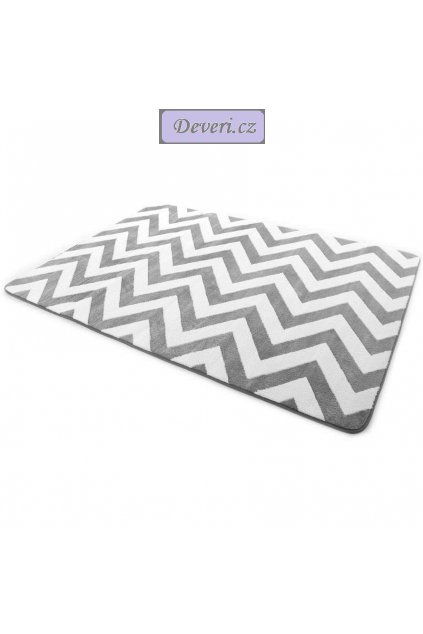 Plyšový kusový koberec 3D zig zag šedo bílý